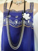 Flapper Dress Vintage Gatsby Downton 20's Beaded Sequinned Art Deco 14 42 US 10