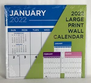 2022 LARGE Print Big Grid Blocks Moms Family Planner Organizer Wall Calendar