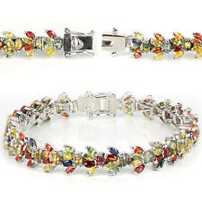 NATURAL SONGEA MULTI COLOR SAPPHIRE MARQUISE STERLING 925 SILVER BRACELET 7.25