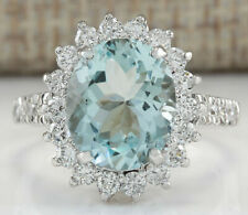 4.46 Carat Natural Aquamarine 14K White Gold Diamond Ring