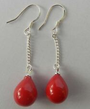 10X14MM NEW Teardrop Red Coral Silver Dangle Earrings Jewelry PE176