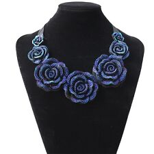Big Blue Roses Crystal Flowers Necklace & Pendant Statement  Bib Chunky Choker