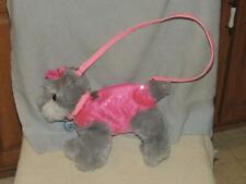 Poochie & Co Girls Schnauzer Dog Purse Pink Sequins Pink Leash Pocketbook