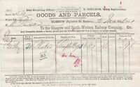Glasgow and South-Western Railway Company Goods + Parcels 1881 Invoice Ref 42577