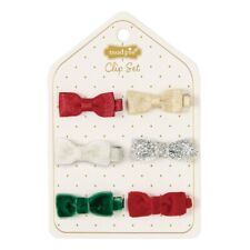 Mud Pie H9 Kids Holiday Shoppe Girl Hair Accessories Velvet And Glitter Bows