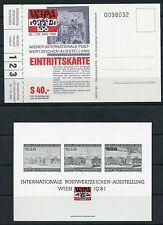 Weeda Wipa 1981 International Philatelic Exhibition unused entrance ticket set