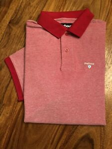 Barbour Short Sleeved Piqué Polo Shirt Red Size XL, Good Condition