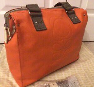Orla Kiely Large Messenger Bag, Orange Leather, BRAND NEW