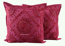 Set of 2 Cotton Mirror Handmade Home Decor Red Indian New Gift Cushion Cover