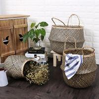 Seagrass Flower Belly Basket Storage Plant Pot Foldable Laundry Bag Home Decor
