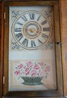 Vintage Worrking Cross Stitch Door Opening Tall Clock Mantle Piece