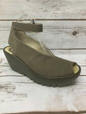 Fly London Womens Yala Perf Ankle Strap Wedge Sandals - Khaki Size 38 39 NIB