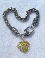 Rhinestone Silver tone Heart Shaped Softball Bracelet