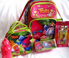 "TROLLS 16"" ROLLING BACKPACK,LUNCHBOX,PENCIL CASE, AND STATIONARY SET- BRAND NEW!"