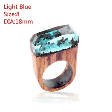 1pc Wood Resin Handmade Ring Magnificent Tiny Fantasy Landscape Fashion Jewelry Light Blue 9
