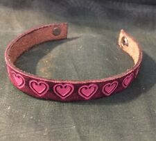 """7"""" Leather Snap Bracelet Brown With Pink Hearts Artisan Made"""