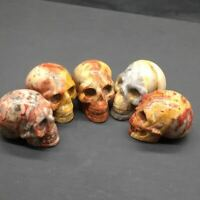 Natural Crazy Agate Quartz Crystal Carved Skull Healing Decoration Reiki 1Pc