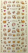 Nail Art 3D Decal Stickers Adorable Raccoon,  Diamond,  Paw Prints LY270
