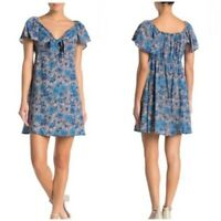 NWT Angie Blue Floral Front Tie Flutter Sleeve Summer Fall Boho Dress S/M/L
