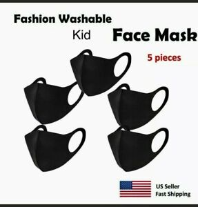 5 Pcs - Black Fashion Kid Face Mask , Washable, Reusable, Unisex Free ship