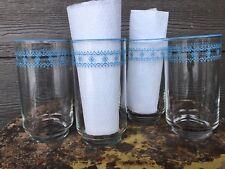 "4 PYREX CORELLE CORNING BLUE SNOWFLAKE GARLAND Vintage Libby GLASSES 5"" Tall"