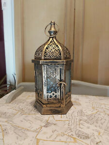 GOLD METAL MOROCCAN STYLE CANDLE LANTERN - 30CM HIGH