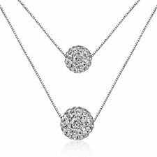 Womens Ladies Elegant 925 Sterling Silver Zircon Balls Beads Necklace Pendant
