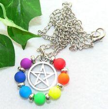 MODISCHER ANHÄNGER Kette Metall  NEON chakra Farben  Pentagramm  299f