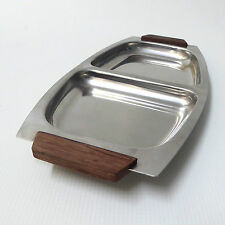 Danish stainless steel 18/8 serving/food hors d'oeuvre tray 70s retro teak 2part
