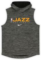 Utah Jazz Team-Issued Heathered Gray Sleeveless Hoodie from the 2019-20 Season