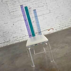 Modern Lucite Chair Rainbow Graduated Back Slats Attr Shlomi Haziza for H Studio