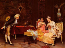Classic art Oil painting Taking A Bow count holding Guitar with nobleladies
