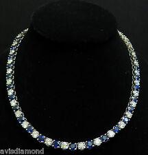 18KT 33.68CT Natürlich Top Edelstein Saphir Diamant Halskette Beste Ewigkeit +