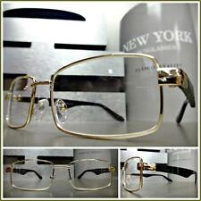 Men's CONTEMPORARY MODERN CLASSY Style Clear Lens EYE GLASSES Gold & Black Frame