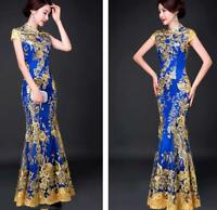 Chic Women Cheongsam QiPao Chinese Evening Party Long Dress Gown Floral Fishtail
