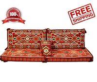 Turkish Ottoman Kilim Corner Set Sofa Cushion pillows Lounge Couch red1 4 pcs