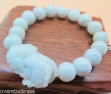 Natural Grade A Jade (Jadeite) 10mm Bead with Pixiu Bracelet Good Luck