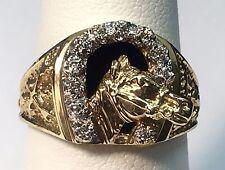 50d805045b1a 14 Quilates Oro Amarillo y Diamante Herradura Suerte Diseño Unisex Onix  Anillo