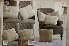 KINGCOLE 4146 ARAN CUSHION KNITTING PATTERN - 4 designs -not the finished items