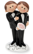 Mr & Mr Same Sex Gay Grooms Wedding Cute Cartoon Cake Topper Decoration Ornament