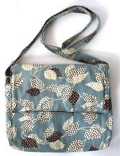 Rose City Totes Handmade Messenger Crossbody Bag Blue Brown Leaves Padded