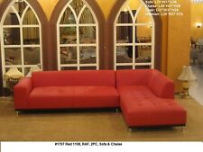 Modern classic design ivory leather sectional chaise + sofa 2pc set #1707