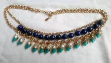 Accessorize Gold Tone Rhinestone Blue And Turquoise Beaded Bib Collar