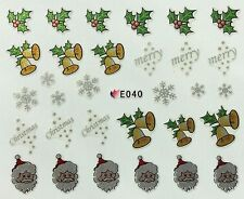 Christmas Nail Art Stickers Decals Silver Snowflakes Santa Bells Holly E40