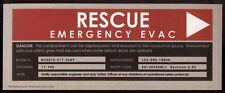 STAR TREK REPRO ENTERPRISE RESCUE EMERGENCY EVAC STICKER SIGN . NOT DVD
