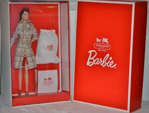 Barbie Coach Doll Gold Label2013 NEW Tattersall Trench X8274 Genuine Leather Bag