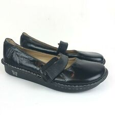 Alegria Black Leather Mary Jane Shoes Size 40 Clogs Fel-101