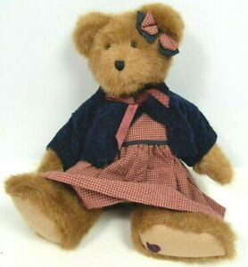 "Teddy Bear Stuffed Animal Boyds Bears Red Plaid Dress and Bow Blue Sweater 14"""