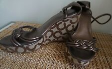 Coach Shoes Wedges High Heel Logo Brown Woven Kinsey sz 8
