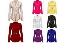 Women's double-breasted gold button front military uniform blazer outdoor jacket
